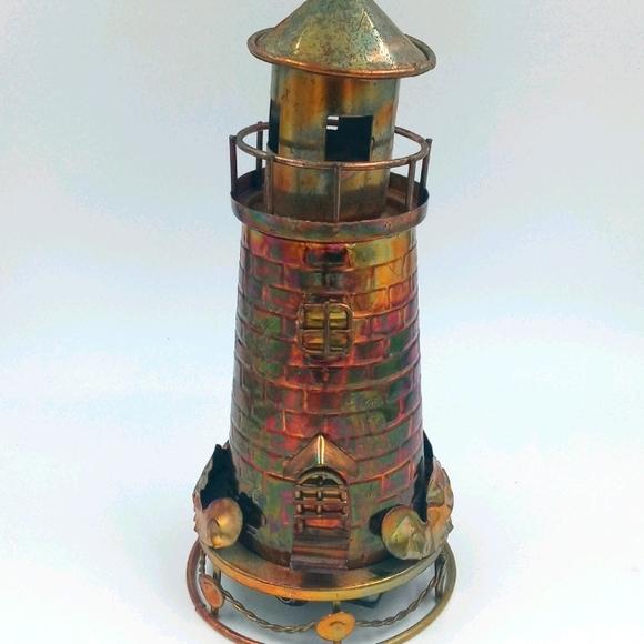 VTG Tin Music Box Lighthouse